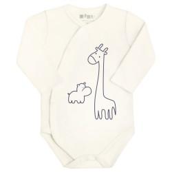 """Nini body kopertowe niemowlęce z bawełny organicznej """"Ecru zwierzak"""""""