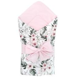 "BECIK/ROŻEK miękki dwustronny velvet ""Wild blossom + róż"""