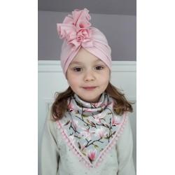 """Czapka turban, apaszka dziewczęca """"Magnolie"""" + róż"""