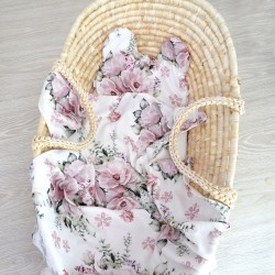 """Komplet bambusowy otulacz z poduszką miś """"Lovely roses"""""""