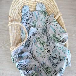 """Komplet bambusowy otulacz z poduszką miś """"Paprocie"""""""