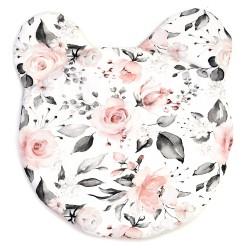"""Poduszka miś bambusowa niemowlęca płaska """"Róże różowo-szare"""""""