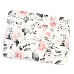 """Poduszka bambusowa niemowlęca płaska """"Róże różowo-szare"""""""