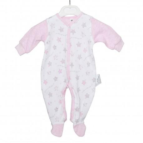 Pajacyk niemowlęcy gwiazdki różowy