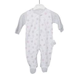 Pajacyk niemowlęcy gwiazdki różowo-szary